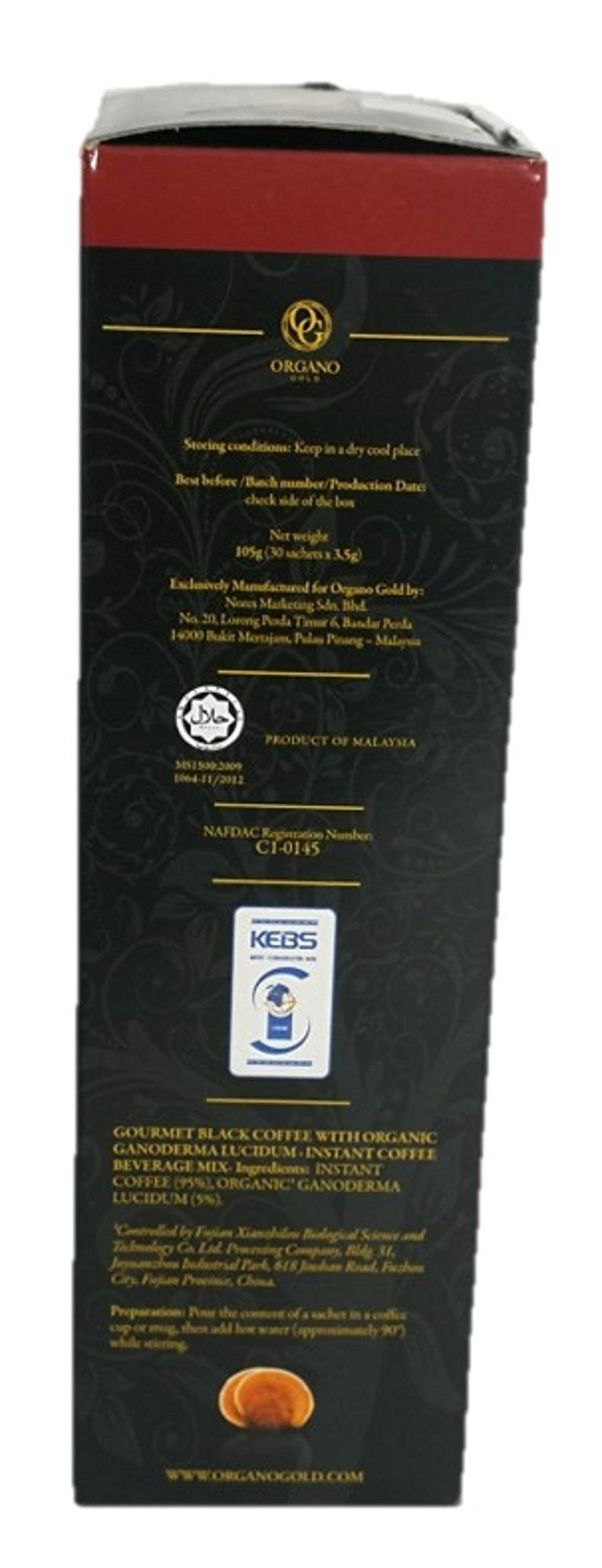 Organo Gold Gourmet Black Coffee – Café Noir with Certified Ganoderma Extract (30 Sachets)