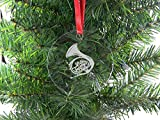 Personalizzato corno francese in acrilico trasparente da appendere a forma di albero di Natale con nastro rosso