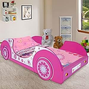 Kinderbett Jugendbett Butterfly Jugendliege Mädchenbett Mädchen Juniorbett Autobett Auto Bett Bettliege Bettgestell Kinderzimmer Jugendzimmer ✔90x200 cm ✔inkl. Lattenrost ✔Holz ✔pink weiß