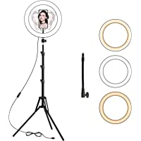 LED Ring Light with Tripod Stand, 10 inch Dimmable Ring Light, 3 Color Modes and 10…