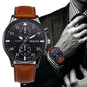 Herren Retro Luxus Ledergürtel Analoge Quarzuhr Simulierter Legierungsquarz Armbanduhr Groveerble