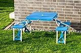 Picknickbank, Kunststoff blau, klappbar