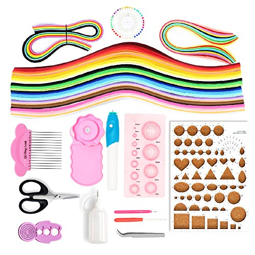 BITEYI Papier Quilling Set mit 12 Quilling Werkzeuge und Elektrischer Quilling Stift,36 Farben 960 Streifen Quilling Papier (Papierbreite 5mm)