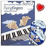 Flying Fingers Band 2 - Klavierschule mit 2 CDs und bunter herzförmiger Notenklammer - Arbeitsmaterial für Technik, Improvisation, Theorie und Notenkenntnissen - Autor Daniel Hellbach