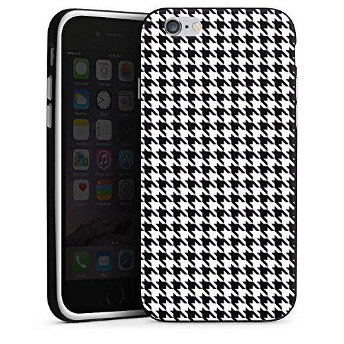 Apple iPhone X Silikon Hülle Case Schutzhülle Black and White Hahnentritt Karo Silikon Case schwarz / weiß