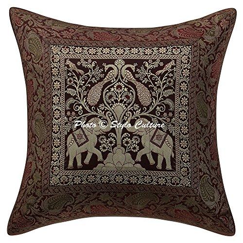 Stylo Culture Cojines de Elefante étnico Covers Brown Brocade Jacquard Cojín de cojín Floral Acento Cojín Brocade 40x40 cm Cojín Cuadrado Tradicional Covers (1 Pc)