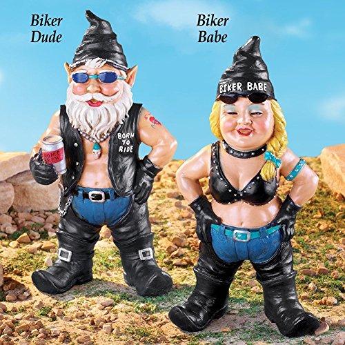 Garden Gnome Biker Couple (Born To Ride Biker Dude)