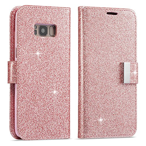 Price comparison product image For S6 Edge Case,  Galaxy S6 Edge Wallet Case,  Luxury Shiny Sparkle Glitter Bling PU Leather [Magnetic Closure][Metal Buckle] Flip Kickstand Wallet Case with 5 Card Slots-Rose Gold