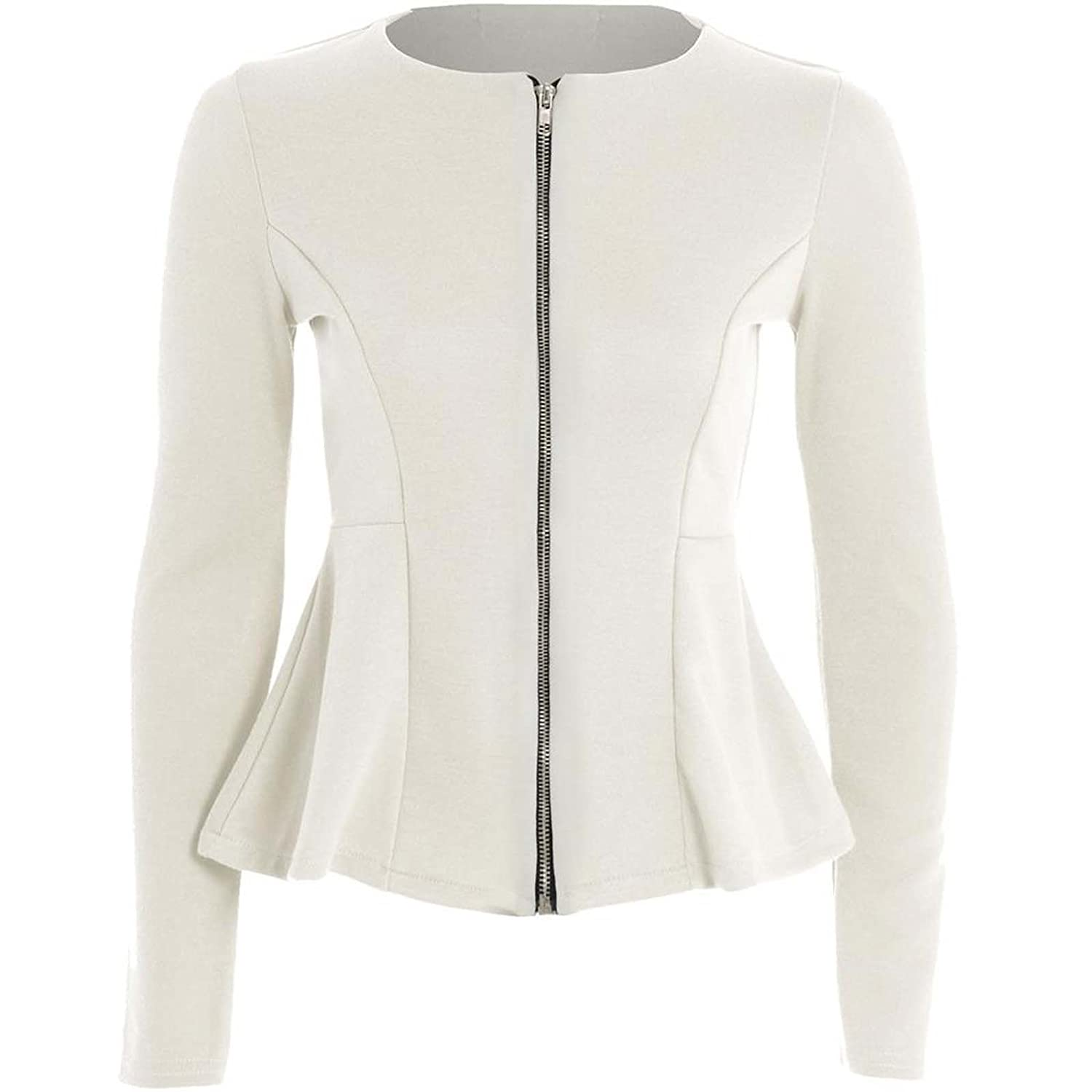 New Women Ladies Plain Zip Peplum Frill Tailored Blazer Jacket ...