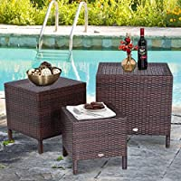 Garden FL Set of 3 Nesting Table Brown Rattan Furniture Side End Table Outdoor Deck Patio Set Space Saving Stackable Design 3 Sizes Multifunctional