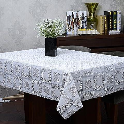 Blanc Grand motif de vérification mult Nappe de vinyle imperméable à l'eau, de 55 pouces par 72 pouces (Nappes peut être coupé par le propre)