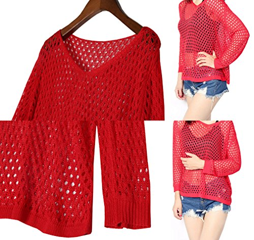 Smile YKK Pull Grande Taille Femme Sweat pour Bikini Plage Pull-over Transparent Col V Manche Longue Rouge