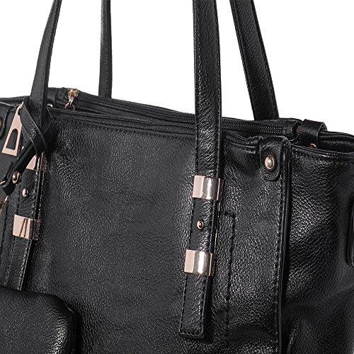 IN ANGEL Women Handbags PU Leather Handbags Large Women Tote Bags Vintage Shoulder Bags Shopper Purses Black