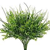 Nahuaa 4 Stücke Künstliche Pflanzen draußen, Weizen Sträucher grüne Kunststoff-Pflanzen Frühling Dekorationen für Tisch Küche Balkon Wohnung Fensterbank