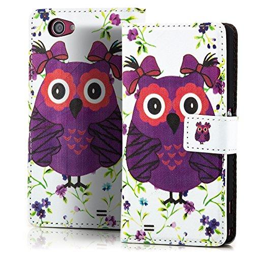 Saxonia. Flip Case Tasche für Apple iPhone 5 5S Schutzhülle mit Magnetverschluss und Standfunktion - Farbe Weiß Kroko Optik Owl Weiß-Violett