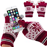Generic Multifunctional Three Fingers Touch Screen Wool Warm Gloves for All Touch Screen Devices(Red)