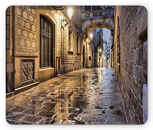 WYICPLO City Mouse Pad, Narrow Street Gothic Design Architecture Carrer del Bisbe Barcelona Spain Europe, Standard Size Rectangle Non-Slip Rubber Mousepad, Tan Pale Brown