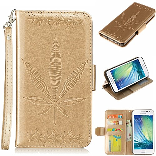 YHUISEN Geprägt Ahornblatt Design PU-Leder Flip Wallet Stand Case mit Kartensteckplatz für Samsung Galaxy A5 (2015) ( Color : Gold ) Gold