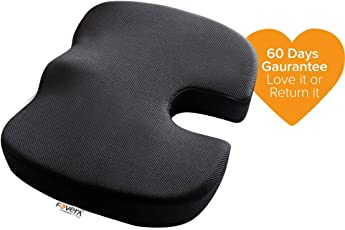 Fovera Comfort Non-Slip Orthopedic Coccyx Seat Cushion For Back Pain & Sciatica Relief - Black - M (Below 80Kg Wt.)