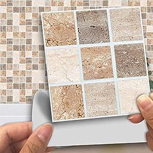 18 stücke Mosaik Fliesenaufkleber, 10 10 cm Bunte Mosaik Wasserdichte Wandaufkleber Dekoration für Wohnzimmer, küche, bad