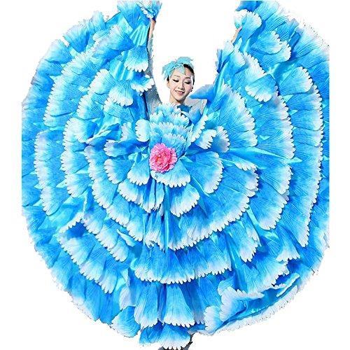 Byjia Frauen Flamenco Kleid 180 360 540 720 Degreen Blumen Doppel Ärmel Blütenblätter Rock Eröffnung Großen Modernen Tanz Chor Kostüme Blue Skirt 540 XL