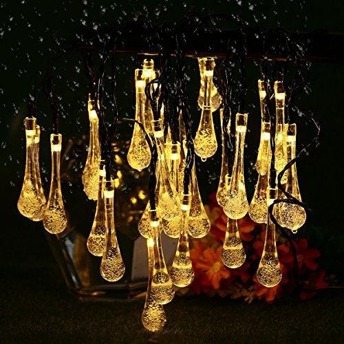 Solar Lichterkette, YUNLIGHTS 6.5 M 30 LED Wasserfeste Wassertropfen Lichter mit 8 Moden, Ssolarbetriebene Outdoor Lichter für Weihnachts- oder Partydekorationen (Warmweiß)