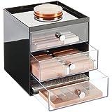 mDesign rangement maquillage – boite a maquillage avec 3 tiroirs pour fard à paupière, mascara, rouge à lèvre, etc. – organis