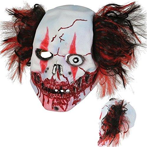 Kostüm Scarface Irland (Maske Horrorclown für Erwachsene, Latexmaske mit Haaren, Universalgröße,)
