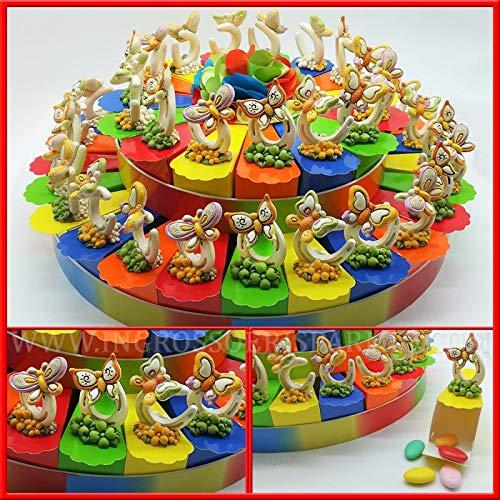 Torta di vari colori in cartoncino rigido lucido decorata con ferri di cavallo e farfalle colorate portafortuna compleanno ragazza da 15, 25 o 40 fette(15 fette con confetti verdi)