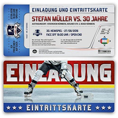 Einladungen (10 Stück) zum Geburtstag als Eishockey Eintrittskarten Ticket Karten