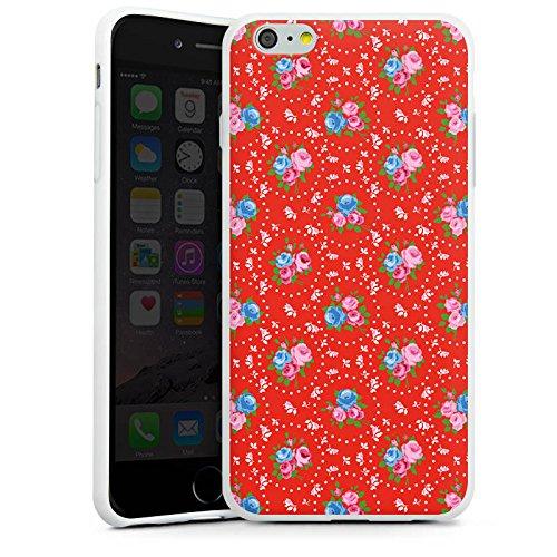 Apple iPhone X Silikon Hülle Case Schutzhülle Blumen Oldschool Muster Silikon Case weiß
