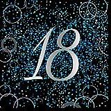 Unique Papierservietten mit Foliendruck für den 18. Geburtstag,blau,16er pack