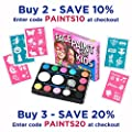 Face Paint Kit for Kids (47 Pieces) 12 Colour Palette: 30 Stencils, 2 Brushes, 2 Sponges, 1 Glitter. Best Quality Professional Face Painting Party Set. Safe Non-Toxic, Boys & Girls. Free Online Guide