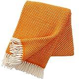 Wolldecke mit leuchtend orangen und cremefarbenen Zickzackstreifen 130x200cm aus 100% Lambswool, ca 800 g