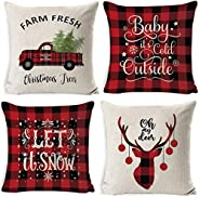 4 pack Throw Pillow Covers Thanksgiving Christmas Decoration Sofa Linen Pillow Case Winter Home Decor Gifts Au