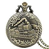 Fashion Railway Motor Form Bronze Antik Stil Quarz TaschenUhren Halskette