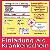 40 Einladungskarten Geburtstag als Krankschreibung Krankmeldung (40 Stück) Arbeitsunfähigkeit Karte