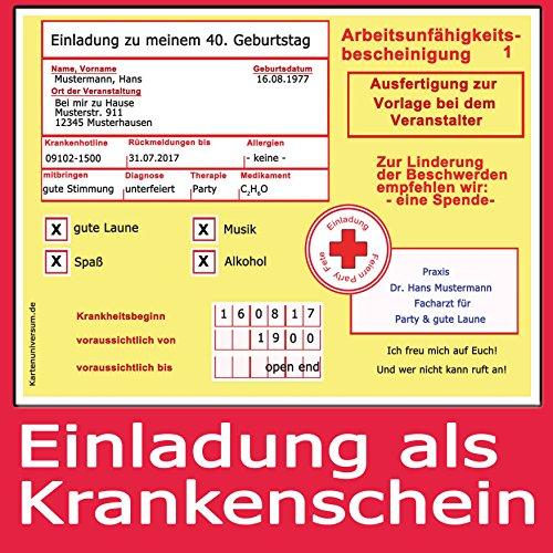 Einladungskarten zum Geburtstag Arzt Rezept Krankschreibung Krankmeldung (70 Stück) Arbeitsunfähigkeit Karte