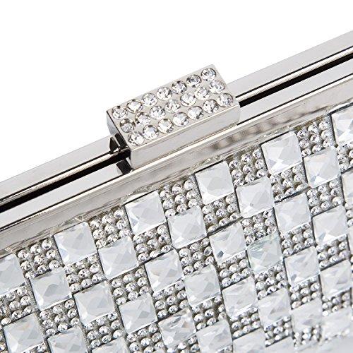 BAIGIO Borsetta con Tracolla da Donna Pochette con Diamante Elegante Borsetta da Sera Matrimonio Portafoglio Lungo, Argento Argento