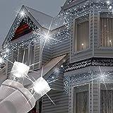 Homezone 720 LED Wandbehang Eiszapfen Lichter 28m strahlend weißen Innen Außen schneebedeckt Weihnachtsbeleuchtung Lichterkette,8 Multi-Funktions Weihnachtsdekoration Chasing Lichterketten 10m Kabel