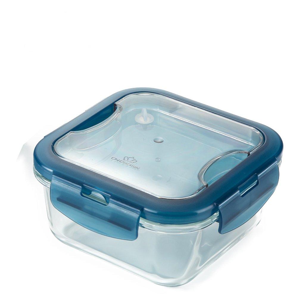 LOIOFOE Recipiente de cristal para almacenamiento de alimentos, contenedores de almuerzo de cristal, 100 % libre de BPA, anillo de sellado de silicona, recipiente de cristal con tapa, hermético, a prueba de fugas, seguro para microondas, horno, congelador, lavavajillas