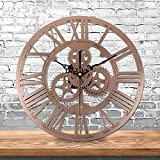 Babimax Vintage Industrie Wanduhr Eisen Wanduhr mit römischen Ziffern und Uhrwerk Design, Gold, 30CM Ø