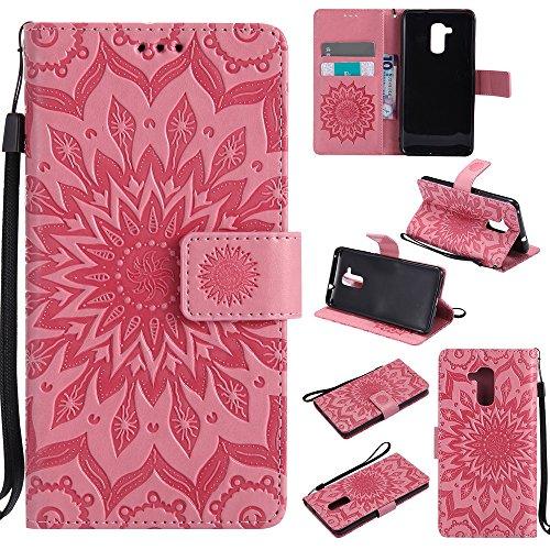 Lomogo Huawei GT3 Hülle Leder Blumenprägung, Schutzhülle Brieftasche mit Kartenfach Klappbar Magnetverschluss Stoßfest Kratzfest Handyhülle Case für Huawei GT3 / Honor 5C - KATU22605 Rosa