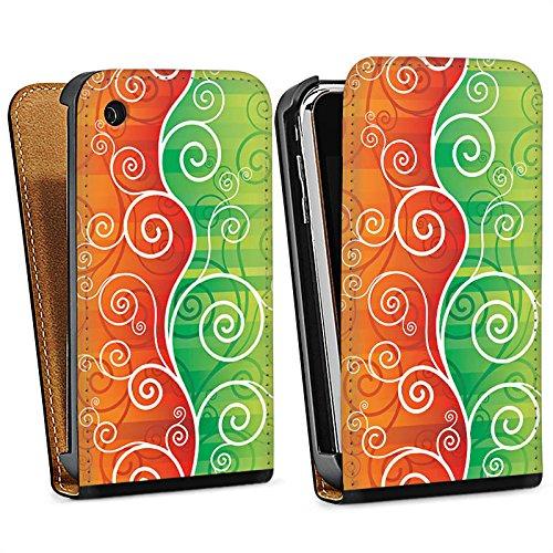 Apple iPhone 4 Housse Étui Silicone Coque Protection Floral Fioriture Vrilles Sac Downflip noir
