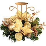 WeRChristmas - Centro de mesa navideño con portavelas (22 cm), color beige y dorado