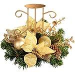 WeRChristmas - Centrotavola con supporto portacandela, motivo natalizio, 22 cm, colore: Panna/Oro