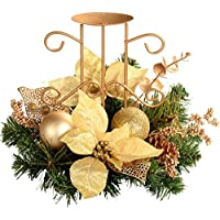 WeRChristmas Decorated Table Centre Piece with Single Pillar Candle Holder Christmas Decoration, 22 cm - Cream/Gold