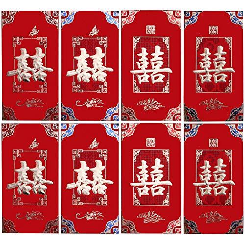 24 STÜCKE 8,6x16,6 cm Chinesische Rote Umschläge Hong Bao Hongbao Glück Geld Pakete für Hochzeit Verlobungsfeier Stil A (Chinesische Rote Pakete)