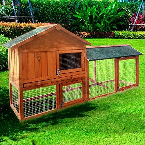 BRAST Hasenstall 180x85,5x52cm Kaninchenstall Kaninchen-Käfig Hasenkäfig Kleintier Stall Freilauf XXL - Großer Kaninchenstall