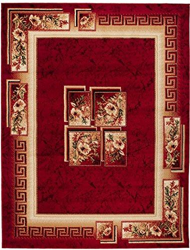 Griechische Muster (Teppich Wohnzimmer Rot mit Klassisch Blumen Griechisch muster Läufer Kurzflor Pflegeleicht ÖKO TEX Zertifiziert Grösse : Klein bis XXL (160x220 cm))
